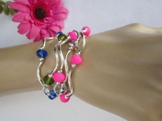 Other Women Pink Neon Green Silver Navy Blue Beads Fashion Jewelry Bangles Bracelets