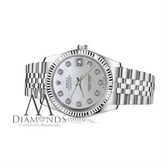 Rolex Women`s 31mm Datejust White MOP Mother Of Pearl Dial with Diamond