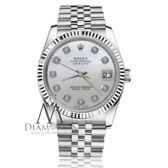 Rolex Men's 36mm Datejust White MOP Mother Of Pearl Dial with Diamond Watch