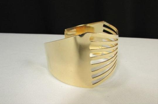 Other Women Gold Thin Metal Hand Cuff Bracelet Fashion Jewelry Cut Out Bow Shapes