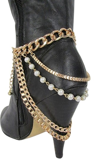 N/A Women Fashion Boot Strap Shoe Metal Foot Chains Gold Silver 4 Strands Pearls