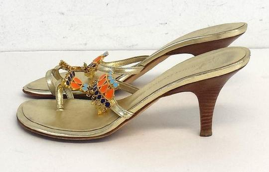 Giuseppe Zanotti Gold Orange Blue Beaded Heels Multi Sandals