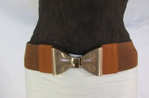 Women Pink Brown Elastic Fashion Belt Big Gold Metal Bow Buckle 28-35