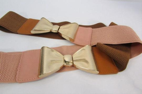 Other Women Pink Brown Elastic Fashion Belt Big Gold Metal Bow Buckle