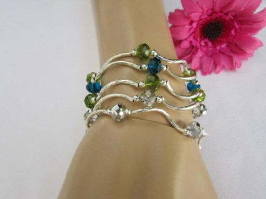 Other Women Green Silver Navy Blue Beads Trendy Fashion Jewelry Five Bangles Bracelets