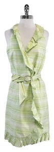 Sara Campbell short dress Green & White Striped Ruffly on Tradesy