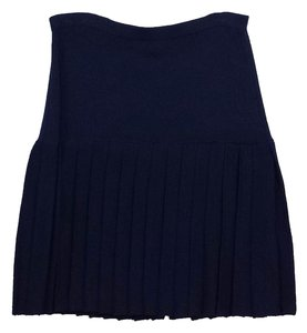 St. John Navy Knit Pleated Skirt
