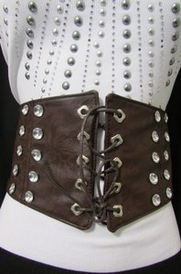 Other Women Elastic High Waist 5 Wide Fashion Corset Belt Brown Black Gray