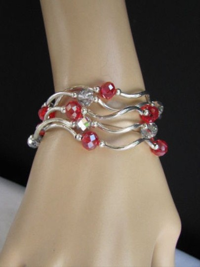 Other Women Red Silver Big Beads Bracelets Jewelry Five Bangles