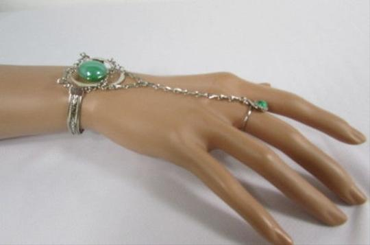 Other N. Women Silver Metal Bracelet Hand Chain Fashion Jewelry Slave Ring Green Brown
