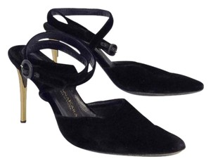Donna Karan Black Gold Velvet Pointed Toe Heels Sandals