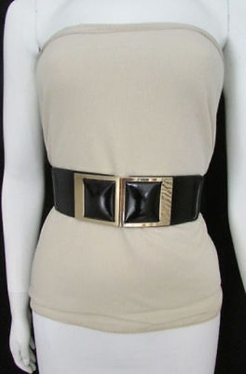 Other Women Elastic Belt Black Brown Hip Waist Fashion Square Gold Buckle