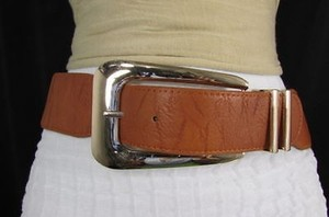 Other Women Brown Elastic Fashion Belt Big Long Metal Buckle