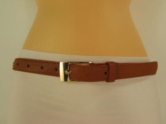 Other Women Belt Leather Gold Brown Hip Waist Fashion Metal Skulls Skinny