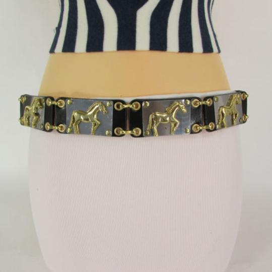Other Women Gold Metal Horses Plates Black Faux Leather Fashion Belt