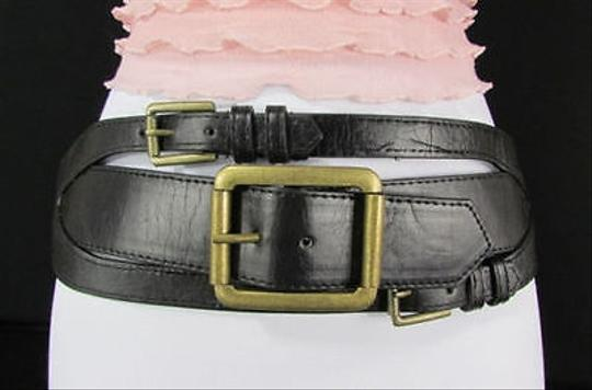 Other Women 4 Wide Black Faux Leather Fashion Belt Western Buckles 28-35