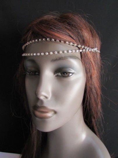 Other Women Silver Head Chain Jewelry Forehead Strands Rhinestones