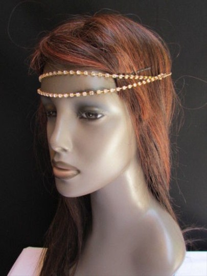 Other Women Gold Head Metal Chain Fashion Jewelry Two Forehead Strands Rhinestones
