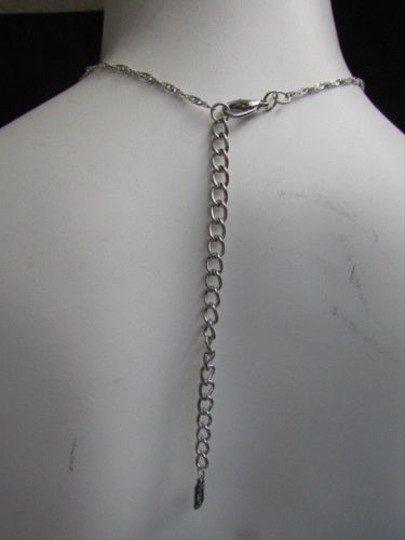 Other Women Silver Rhinestone Classic Single Strand Chains Metal Body Jewelry Necklace