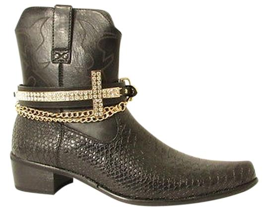 Other Fashion Boot Shoe Black Strap Big Cross Gold Silver Rhinestones Metal Chains