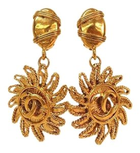 Chanel SUNBURST C C EARRINGS 18KT GOLD PLATED