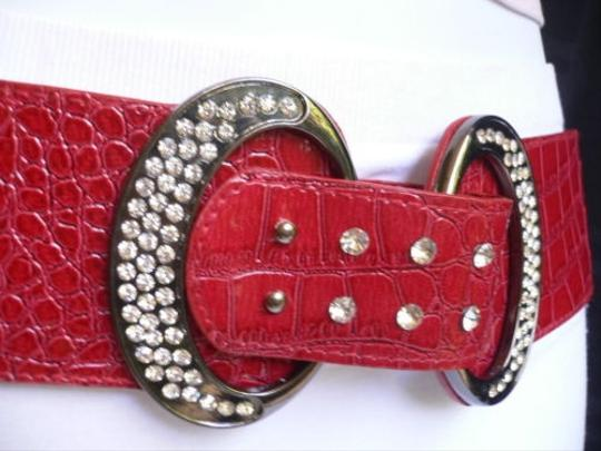 Other Trendy Women Hip Waist Elastic Red Fashion Belt Silver Rhinestones