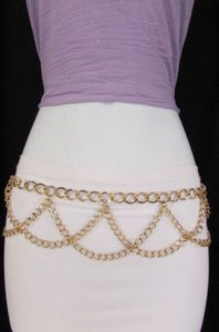 Women Wavey Metal Chains Fashion Belt Low Hip High Waist Silver Gold