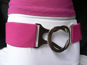 Other Women Elastic Silver Hook Buckle Waist Hip Hot Pink Plus Belt