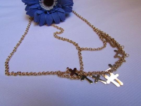 Other Women Gold Multi Crosses Head Metal Chain Fashion Jewelry Front Strand