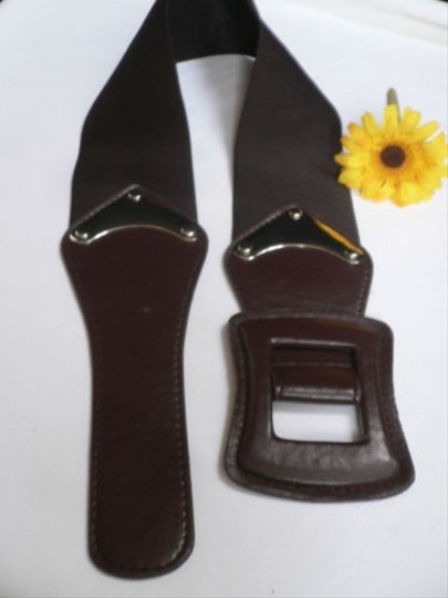 Other Women Hip High Waist Elastic Dark Brown Faux Leather Wide Belt 27-34 S-l