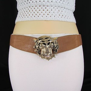 Women Hip Waist Elastic Brown Fashion Belt Big Gold Tiger Buckle 25-34