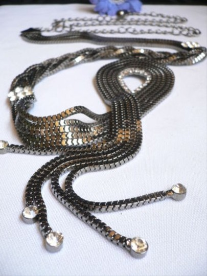 Other Women Pewter Braided Water Drop Metal Belt Silver Rhinestone 25-48 Xs-xxl