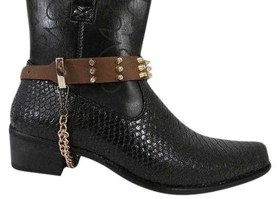 Other Women Boot Shoe Black Strap Gold Silver Rhinestones Metal Chains