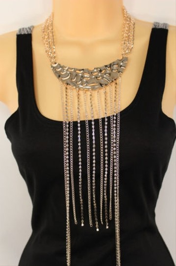 Other Women Gold Metal Chain Fashion Jewelry 25 Long Rhinestones Fringes Necklace