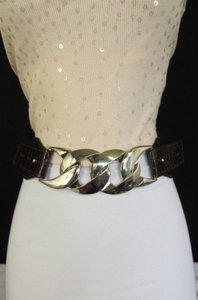 Other Women Black Brown Elastic Fashion Belt Hip Waist Silver Chunky