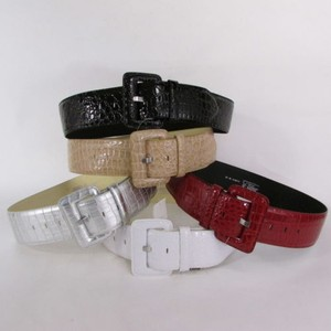 Women Fashion Wide Belt Faux Leather Hip Waist Black White Silver Red