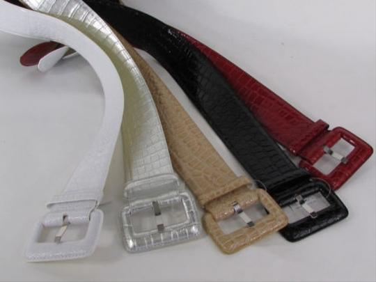Other Women Fashion Wide Belt Faux Leather Hip Waist Black White Silver Red