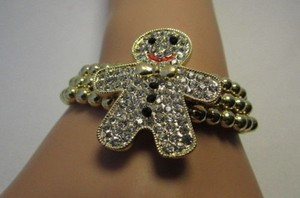Other Women Gold Metal Chains Bracelet Gingerbread Man Rhinestones Fashion Jewelry