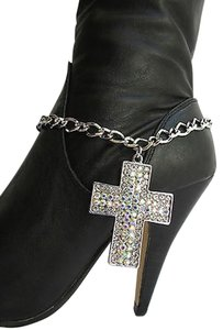 Other Women Silver Boot Chain Strap Rhinestones Cross Western Rodeo Shoe Charm 9