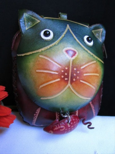 Other Women Cat Mouse Green Purse Coin Bag Key Chain Genuine Leather Wallet