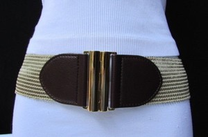 Banana Republic Banana Republic Women Metallic Gold Elastic Wide Fashion Belt Brown Buckle