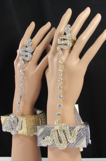 Other Women Silver Gold Chunky Metal Fashion Bracelet Snake Slave Ring Rhinestones
