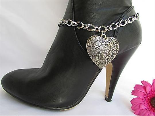Other Women Rusty Silver Boot Chain 1 Strap Big Metal Heart Western Shoe Charm 26