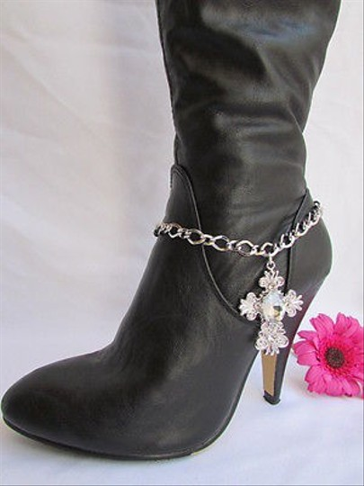 Other Women Silver Boot Anklet Chain Strap Rhinestone Big Cross Western