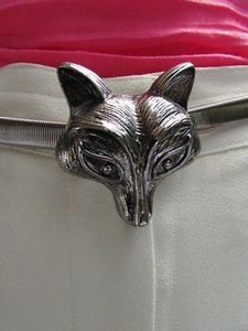 Women Fashion Belt Hip High Waist Silver Elastic Metal Fox Buckle Fun