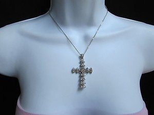 Women Silver Trendy Fashion Necklace Big Cross Pendant Rhinestones 10 Drop