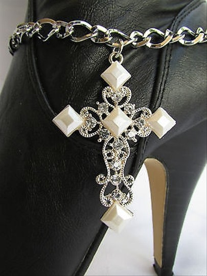 Unbranded Women Silver Boot Anklet Chain 1 Strap White Big Cross Bracelet Shoe Charm 11