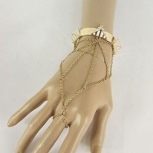 Other Women Gold Metal Pyramid White Hand Chain Thin Fashion Bracelet Cuff Slave Ring