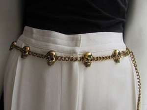 Women Hip Waist Dark Gold Metal Chains Multi Skulls Fashion Belt 25-37 Xs-l