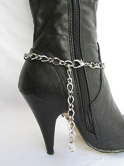 Other Women Silver Boot Anklet Chain Wings Cross Western Shoe Charm 28